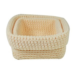 Zestaw 2 koszyków Crochet Beige