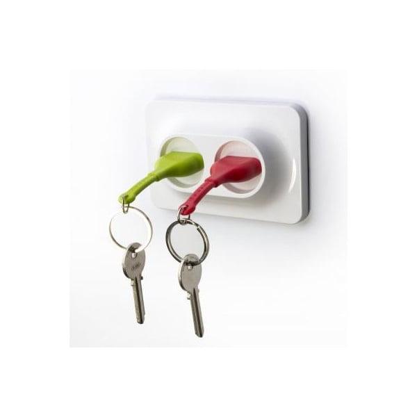 Naścienny uchwyt z zawieszkami na klucze QUALY Double Unplug, zielony/czerwony