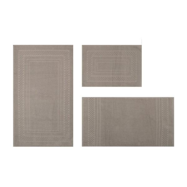 Zestaw 3 brązowych dywaników łazienkowych Lanet