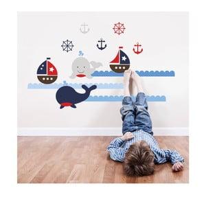 Naklejka ścienna Wieloryby i żaglówki, 70x50 cm
