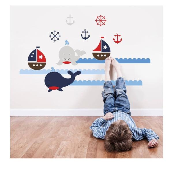 Naklejka naścienna Wieloryby i łódki