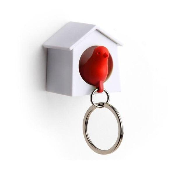 Wieszak na klucze wróbelek w budce MINI, czerwony