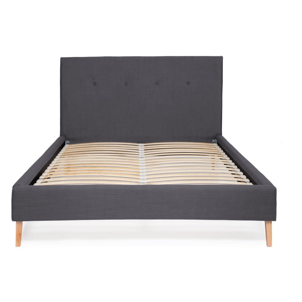 Granatowe łóżko Vivonita Kent Linen, 200x140cm