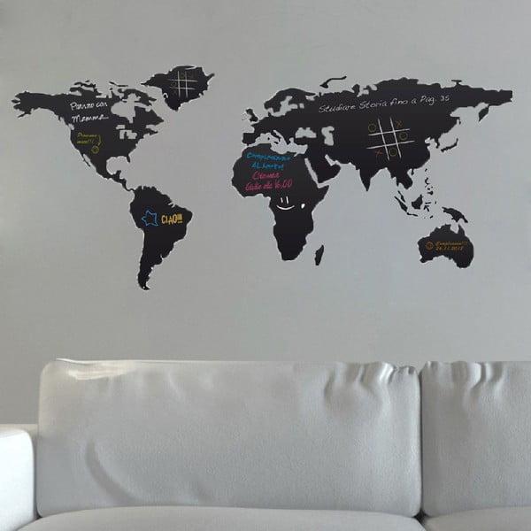 Czarna naklejka tablicowa na ścianę Homemania World