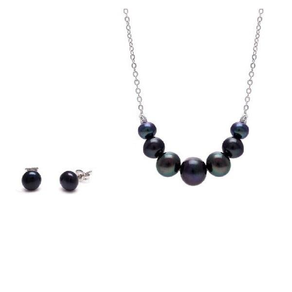 Komplet naszyjnika i kolczyków z pereł słodkowodnych Chain, czarny