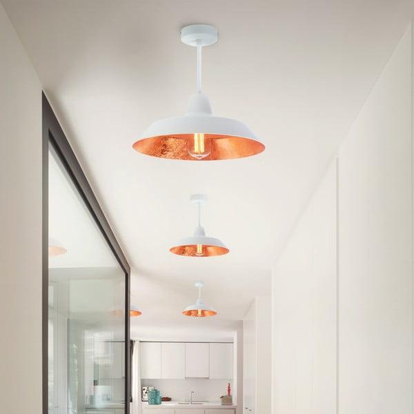 Biała lampa wisząca z wnętrzem w miedzianym kolorze Bulb Attack Cinco Basic
