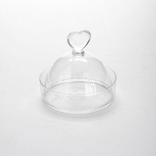 Szklana miska z przykrywką Knob Heart
