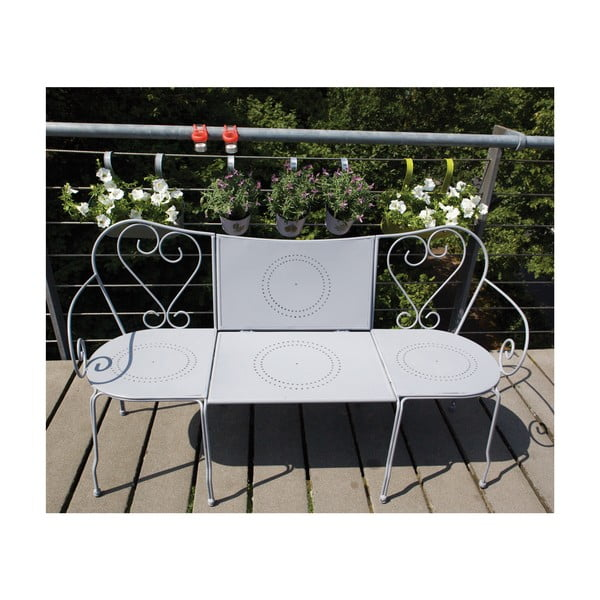 Ławka ze składanym stolikiem na balkon Nature, kolor szary