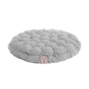 Jasna niebieskoszara poduszka do siedzenia wypełniona piłeczkami do masażu Linda Vrňáková Bloom, Ø 65 cm