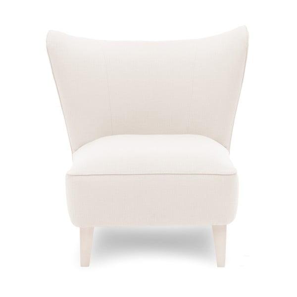 Kremowy fotel z jasnymi nogami Vivonita Sandy