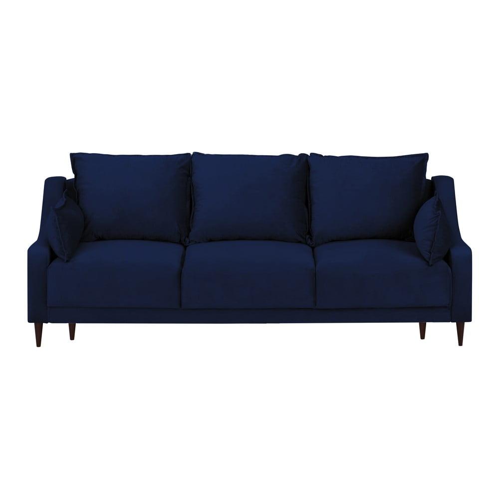 Niebieska rozkładana sofa 3-osobowa ze schowkiem Mazzini Sofas Freesia