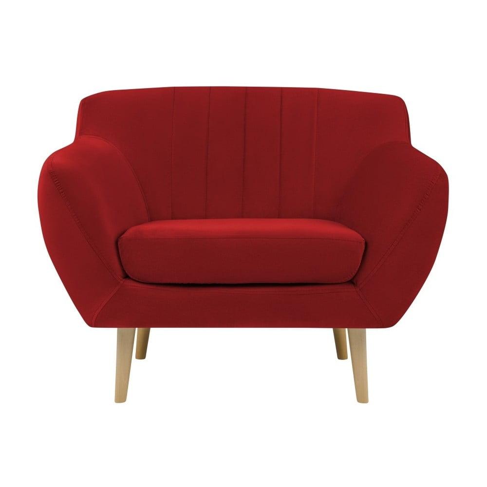 Czerwony aksamitny fotel Mazzini Sofas Sardaigne
