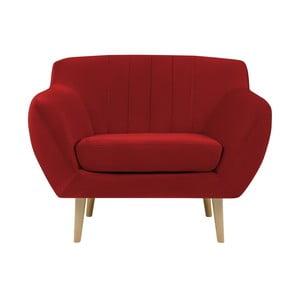 Czerwony fotel z jasnymi nogami Mazzini Sofas Sardaigne