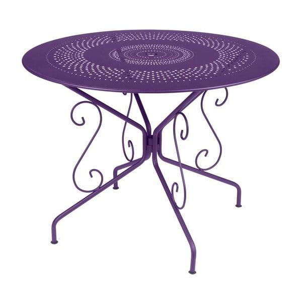 Fioletowy stół metalowy Fermob Montmartre, Ø 96 cm