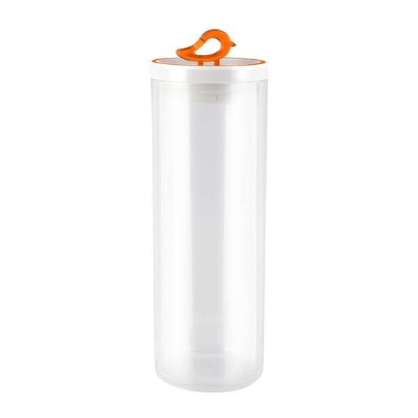 Przezroczysty pojemnik z pomarańczowym detalem Vialli Design Livio, 1,8 l