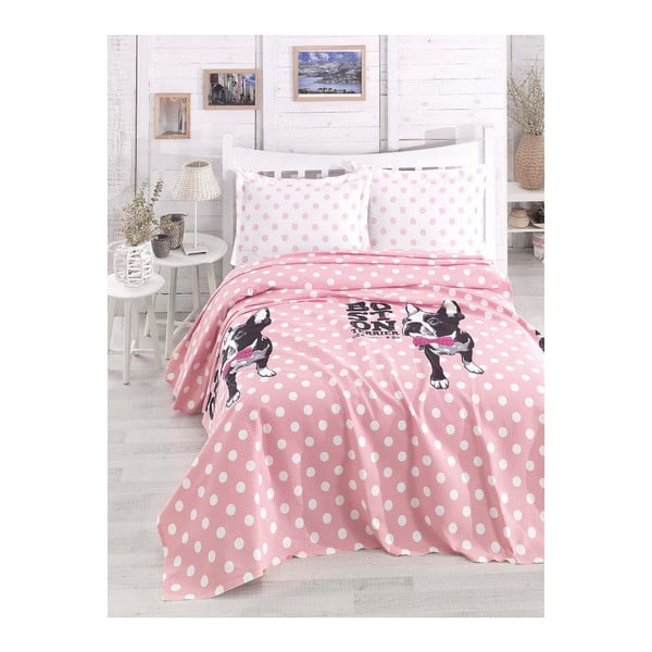Lekka narzuta na łóżko dwuosobowe Boston Pink, 200x235cm