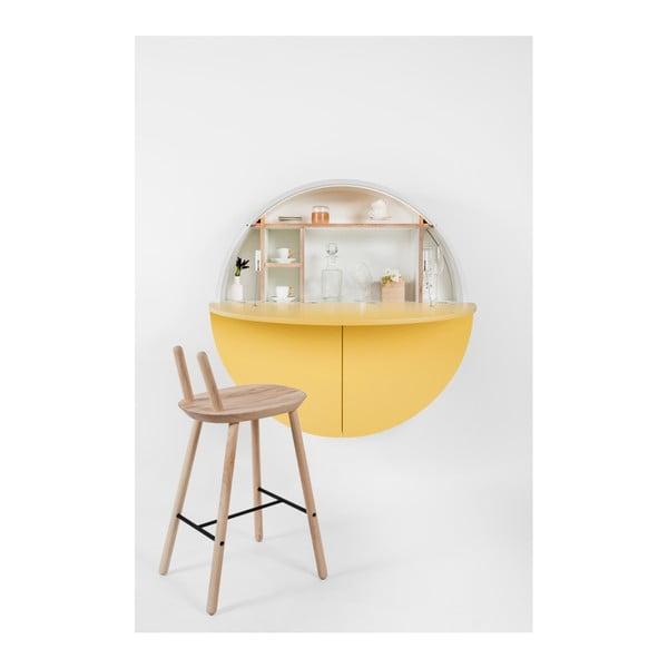 Biało-żółte wielofunkcyjne biurko ścienne EMKO Pill