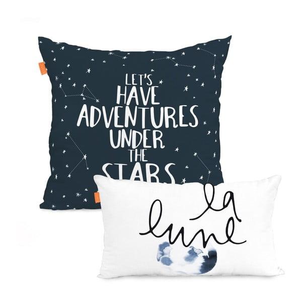 Zestaw 2 bawełnianych poszewek na poduszki Blanc Constellation