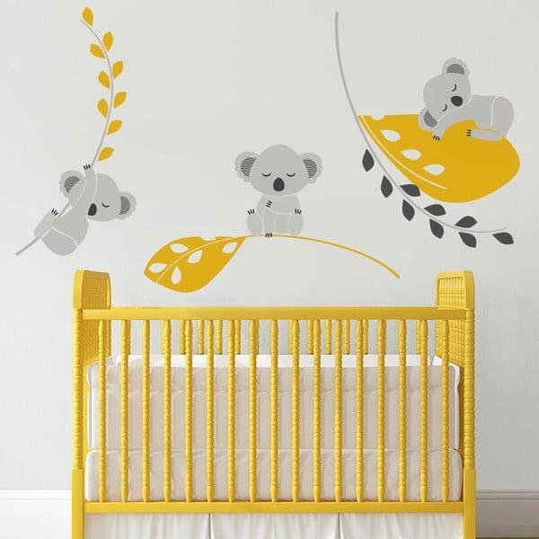 Naklejka Śpiące koale, żółta, 70x50 cm