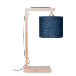 Lampa stołowa z niebieskim kloszem i konstrukcją z bambusa Good&Mojo Himalaya