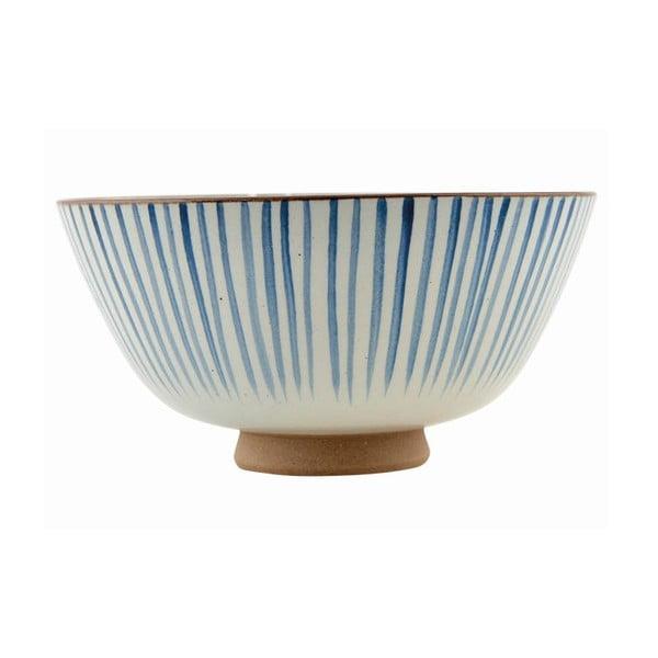 Ręcznie malowana miska Stripes Blue, 20x10 cm