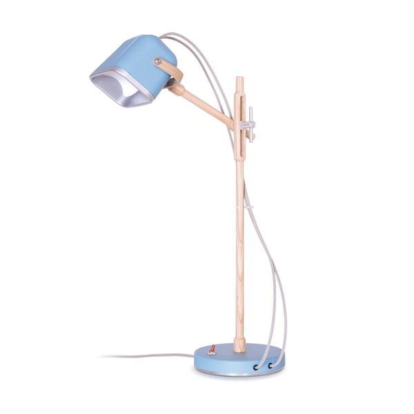 Lampa stołowa Mob Wood, niebieska