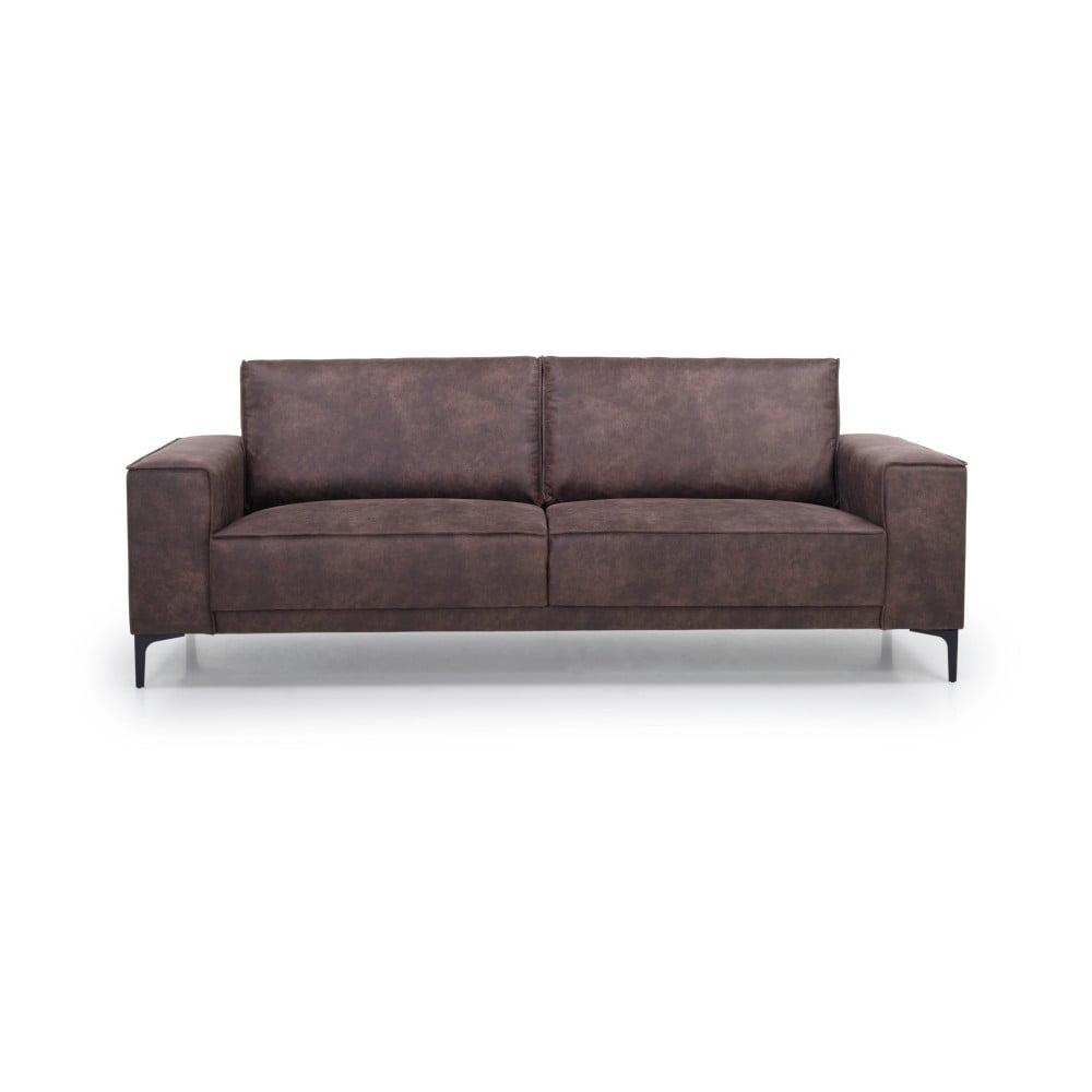 Czekoladowa sofa z imitacji skóry Scandic Copenhagen, 224 cm