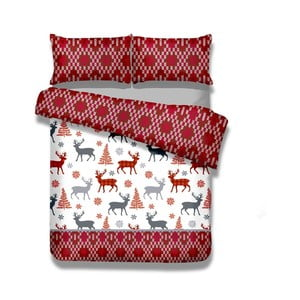 Dwuosobowa pościel z flaneli AmeliaHome Winter Reindeer, 200x200 cm