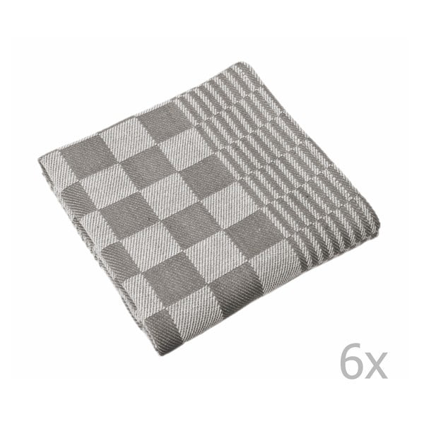 Komplet 6 szarych ścierek Tiseco Home Studio Mineur, 65x65 cm