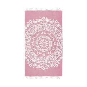Różowy ręcznik hammam Kate Louise Madalena, 165x100 cm