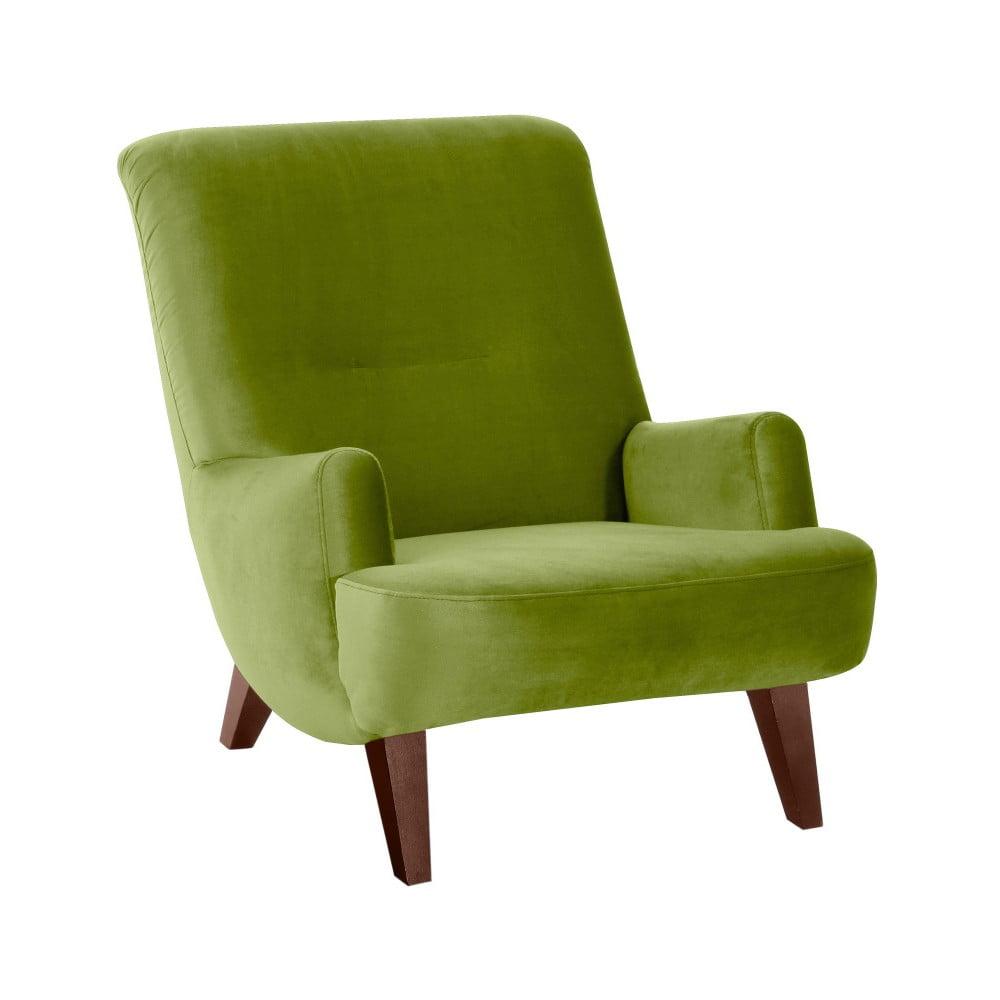 Zielony fotel z brązowymi nogami Max Winzer Brandford Suede