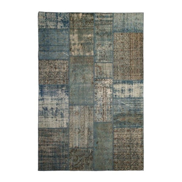 Dywan wełniany Allmode Patchwork Blue, 180x120 cm