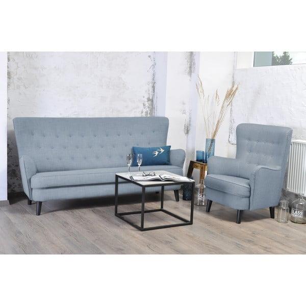Srebrna sofa trzyosobowa Vivonita Fifties