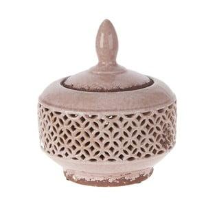 Ceramiczna miska z nakryciem, 21,5 cm, różowa