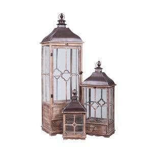 Komplet 3 drewnianych lampionów Farole