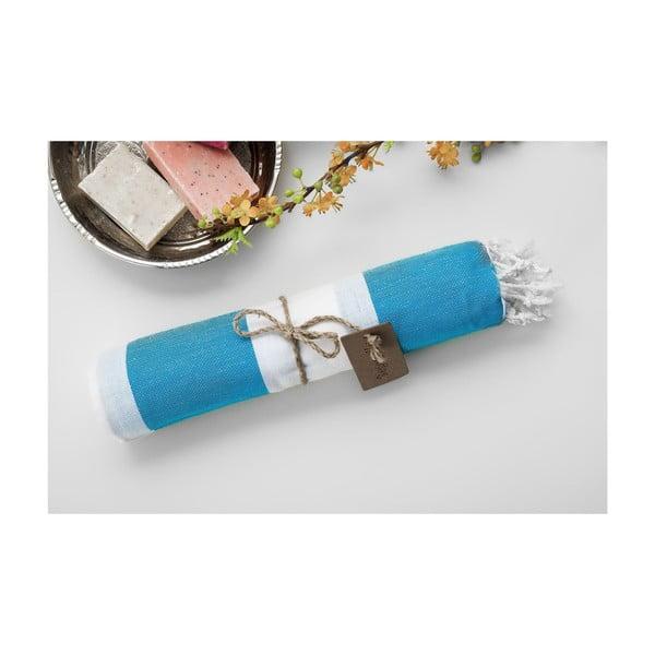 Ręcznik hammam Myra Turquoise White, 100x180 cm