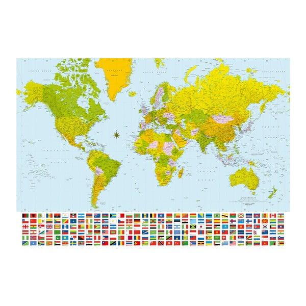 Wielkoformatowa tapeta Mapa świata z flagami, 366x254 cm