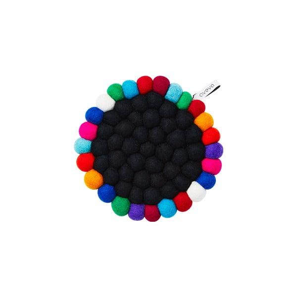 Wełniana podkładka Trivet Black/Multi, 17 cm