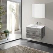 Szafka do łazienki z umywalką i lustrem Flopy, motyw vintage, 60 cm