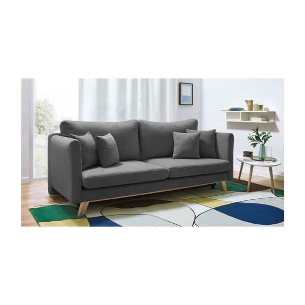 Ciemnoszara rozkładana sofa 3-osobowa Bobochic Paris Triplo
