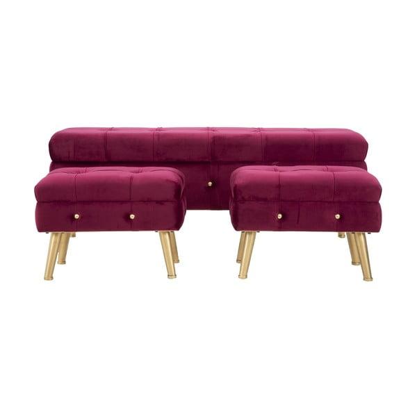 Komplet ławki i 2 podnóżków ze schowkiem w bordowej barwie Mauro Ferretti Glam