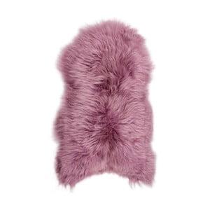 Różowa skóra owcza z długim włosiem Dark tops, 100x55 cm