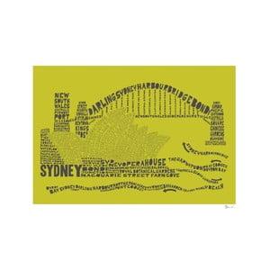 Plakat Sydney Green&Grey, 50x70 cm