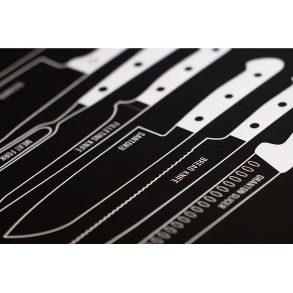Czarny plakat Follygraph Knives black, 40x50cm