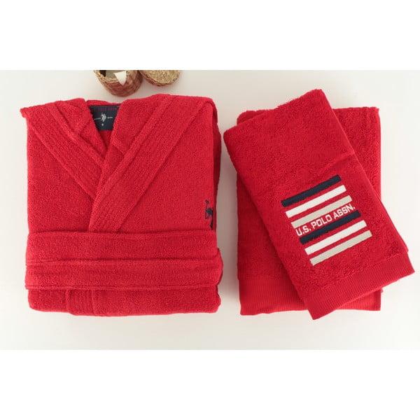 Zestaw damskiego szlafroka i 2 ręczników US Polo Lutsen Red, roz. M