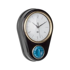 Czarny zegar ścienny z minutnikiem PT LIVING