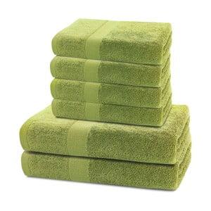 Komplet 2 limonkowych ręczników kąpielowych i 4 ręczników DecoKing Marina