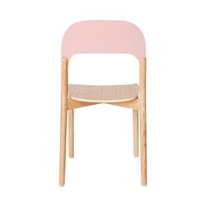 Krzesło z drewna dębowego z różowym oparciem HARTÔ Paula