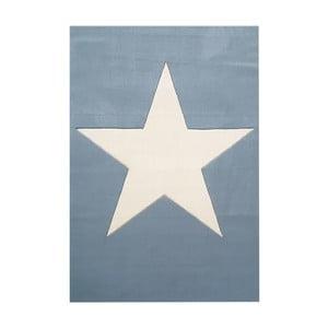Niebieski dywan dziecięcy z wełny Happy Rugs Superstar, 120x180 cm