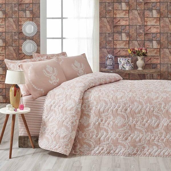 Różowa narzuta dwuosobowa z poszewkami na poduszki Pure,200x220cm